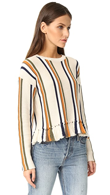 Whistles Fringe Detail Stripe Sweater