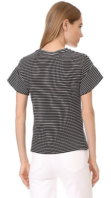 Whistles Stripe Frill Yoke Tee