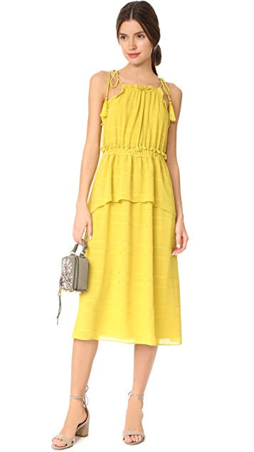 Whistles Textured Ruffle Tie Dress
