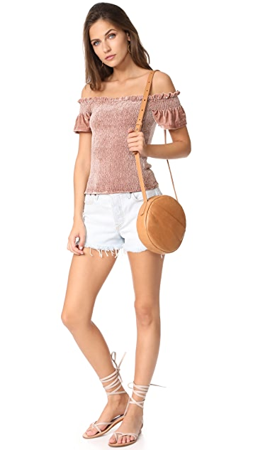 Whistles Phi Phi Smocked Velvet Top
