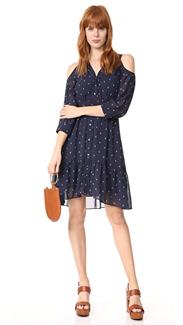 Whistles Fleur De Lis Print Cold Shoulder Dress