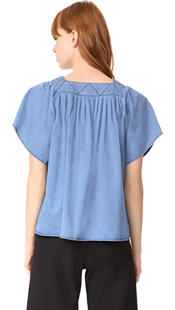 Whistles Square Neck Denim Blouse
