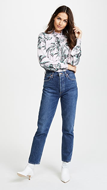 Whistles Wren High Neck Printed Blouse