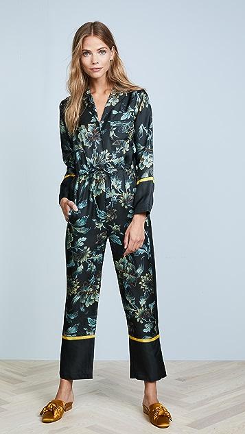 Whistles Lyle Print Silk Pajama Jumpsuit