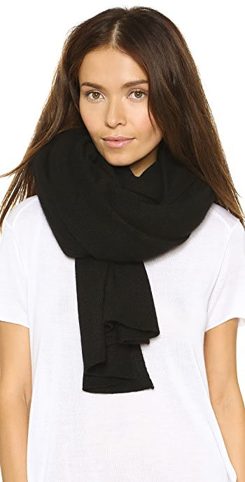White + Warren Cashmere Travel Wrap Scarf - Black