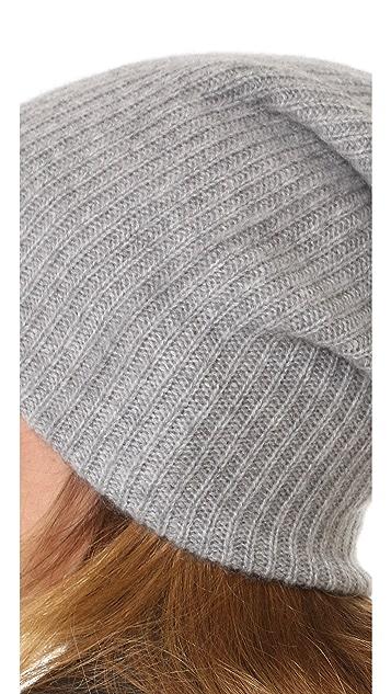 White + Warren 开司米羊绒毛绒罗纹针织帽