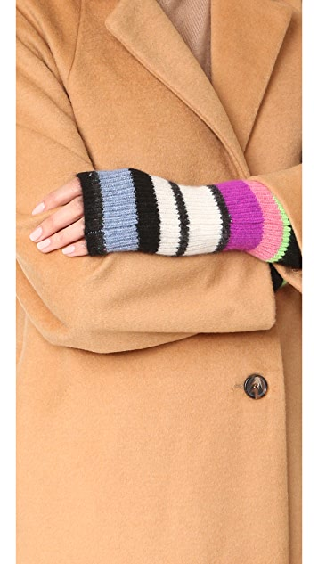 White + Warren Cashmere Striped Arm Warmers