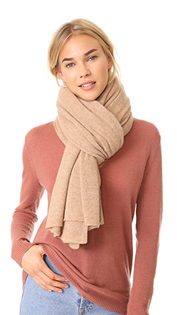 White + Warren Cashmere Travel Wrap Scarf - Camel Heather