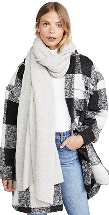 White + Warren Cashmere Travel Wrap Scarf - Misty Grey Heather