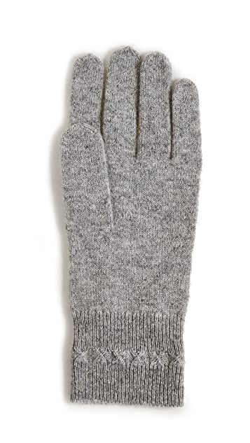White + Warren Cashmere Cross Stitch Gloves