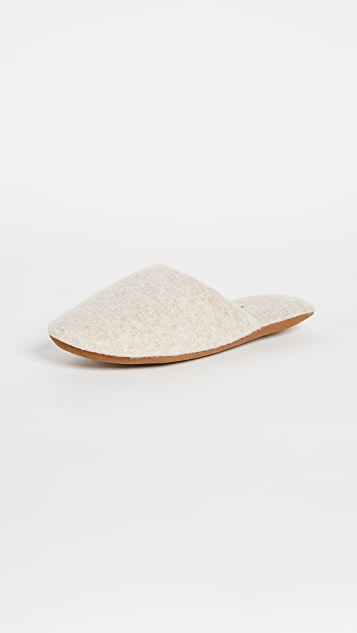 White + Warren Cashmere Slide Slippers - Sand Wisp Heather