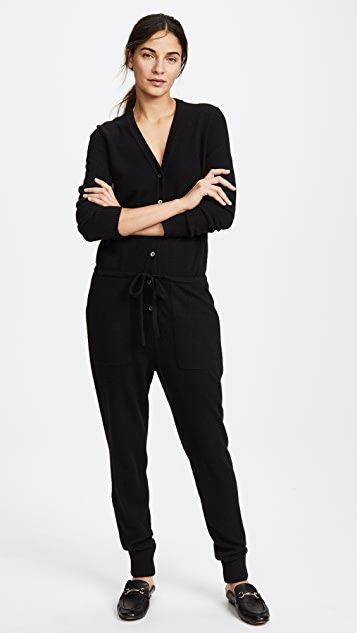 White + Warren Cashmere V Neck Jumpsuit