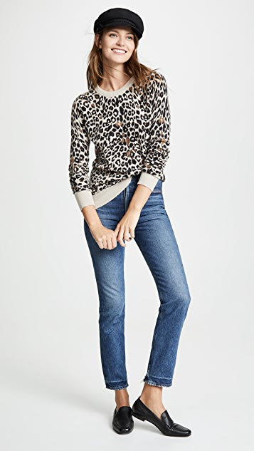 White + Warren Leopard Cashmere Sweater