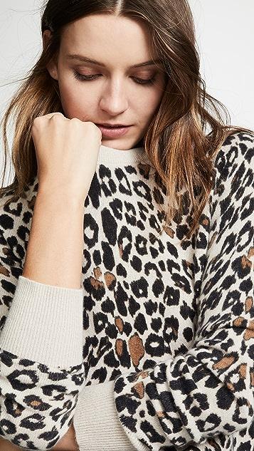 White + Warren Leopard Cashmere Sweater