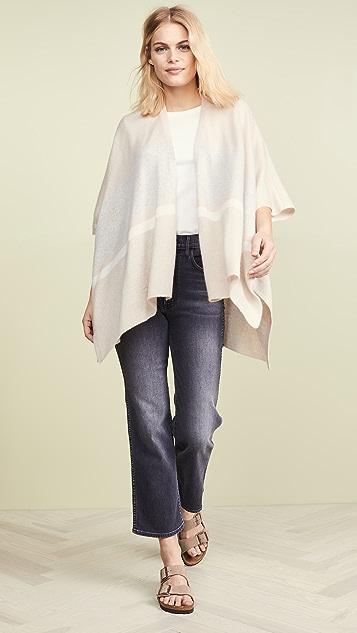 White + Warren Bold Stripe Cashmere Poncho