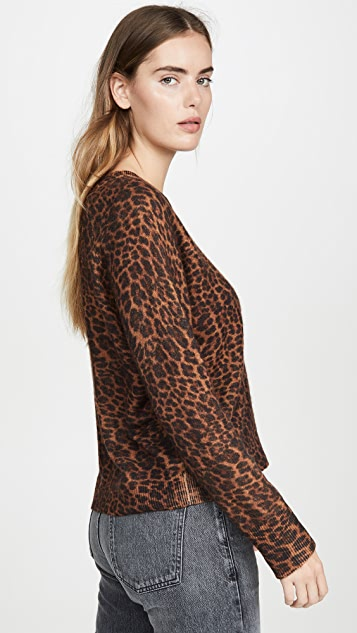 White + Warren Leopard Essential Sweater