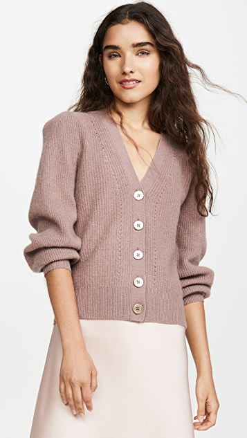 Cashmere Puff Sleeve Cardigan by White + Warren