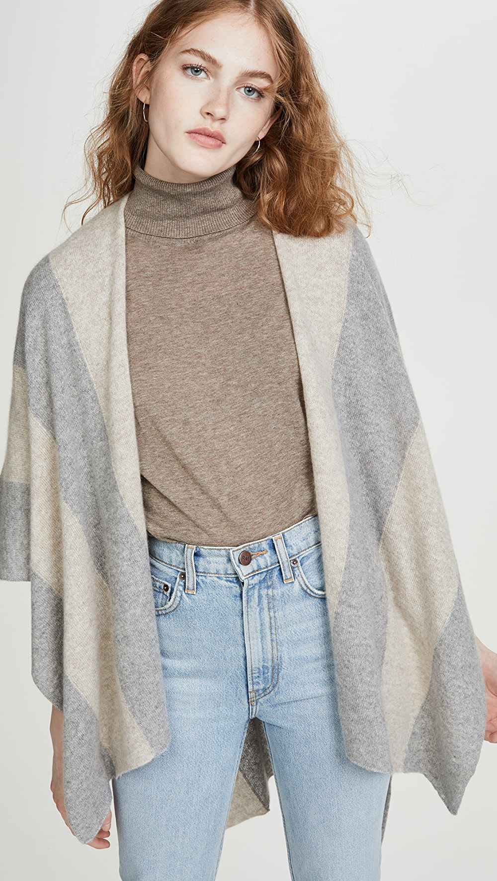 Earnest White + Warren - Block Stripe Cashmere Poncho Products Hot Sale