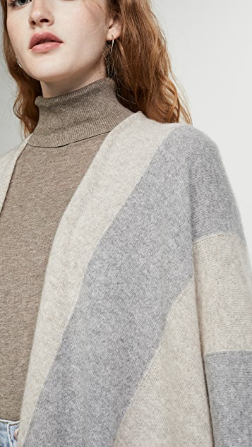 White + Warren Block Stripe Cashmere Poncho