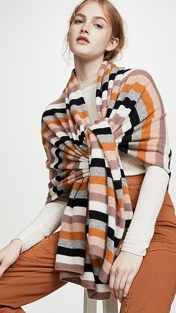 White + Warren Дорожный кашемировый свитер с запахом в разноцветную полоску