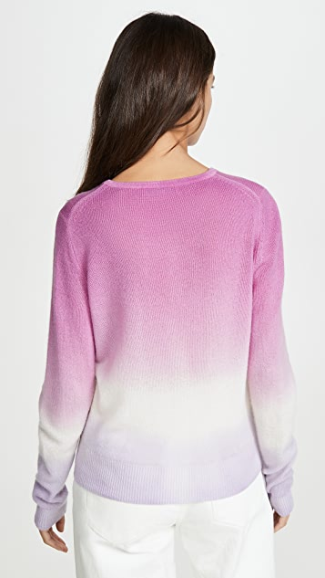 White + Warren Dip Dye Crew Neck Cashmere Sweater