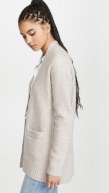 White + Warren 超大华夫格开司米羊绒开襟衫