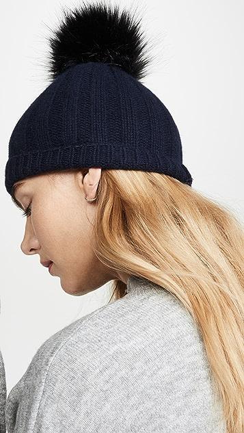 White + Warren 宽罗纹开司米羊绒绒球毛线帽