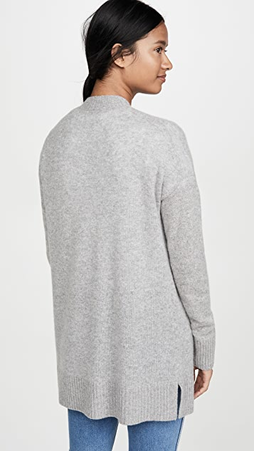 White + Warren Rib Trim Open Cashmere Cardigan