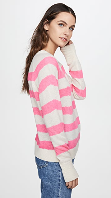 White + Warren Printed Stripe Essential Cashmere Sweatshirt