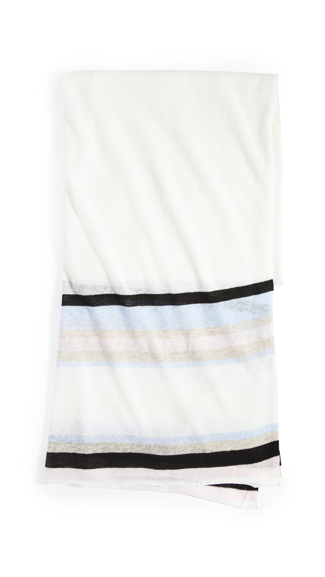 White + Warren Striped Mini Linen Travel Wrap