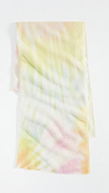 White + Warren Небольшой дорожный кашемировый плед с рисунком в технике узелкового батика