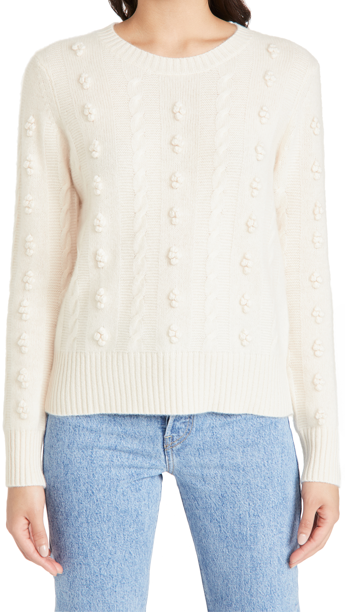 White + Warren Popcorn Cable Cashmere Crew Neck