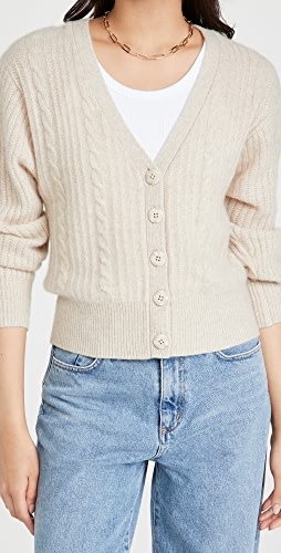 White + Warren - Blouson Sleeve Cable Cashmere Cardigan