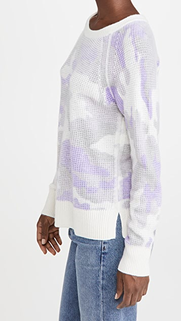 White + Warren Cashmere Camo Thermal Sweatshirt