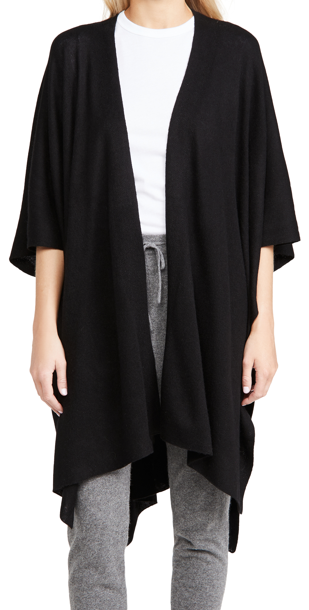 White + Warren Long Open Cashmere Poncho
