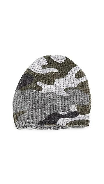 White + Warren 迷彩开司米羊绒蜂窝纹针织帽