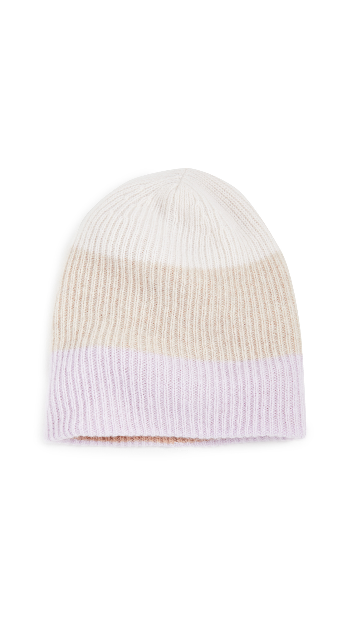 White + Warren Colorblocked Plush Rib Cashmere Beanie
