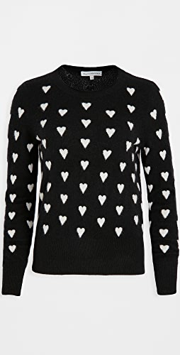 White + Warren - Polka Heart Crew Neck Cashmere Sweater