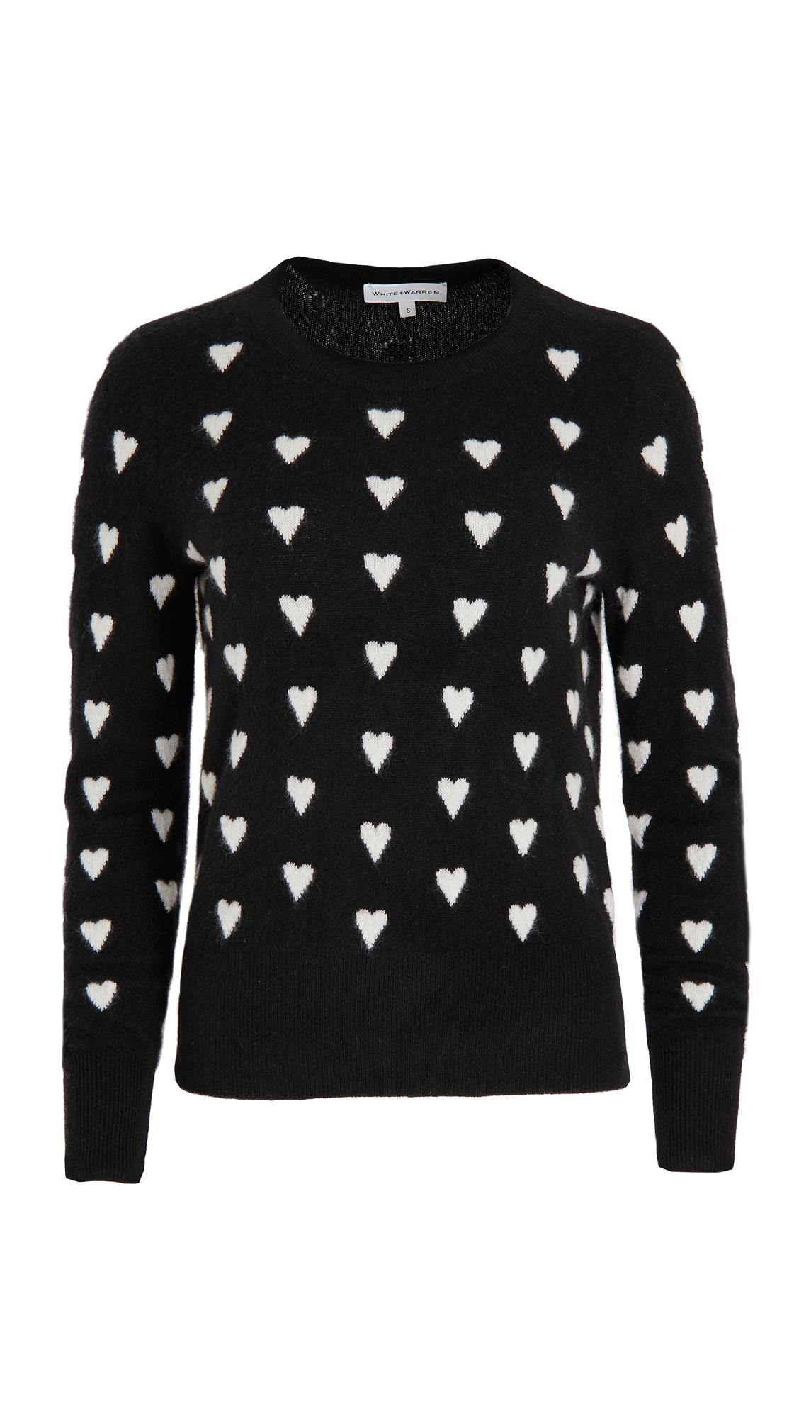 White + Warren Polka Heart Crew Neck Cashmere Sweater