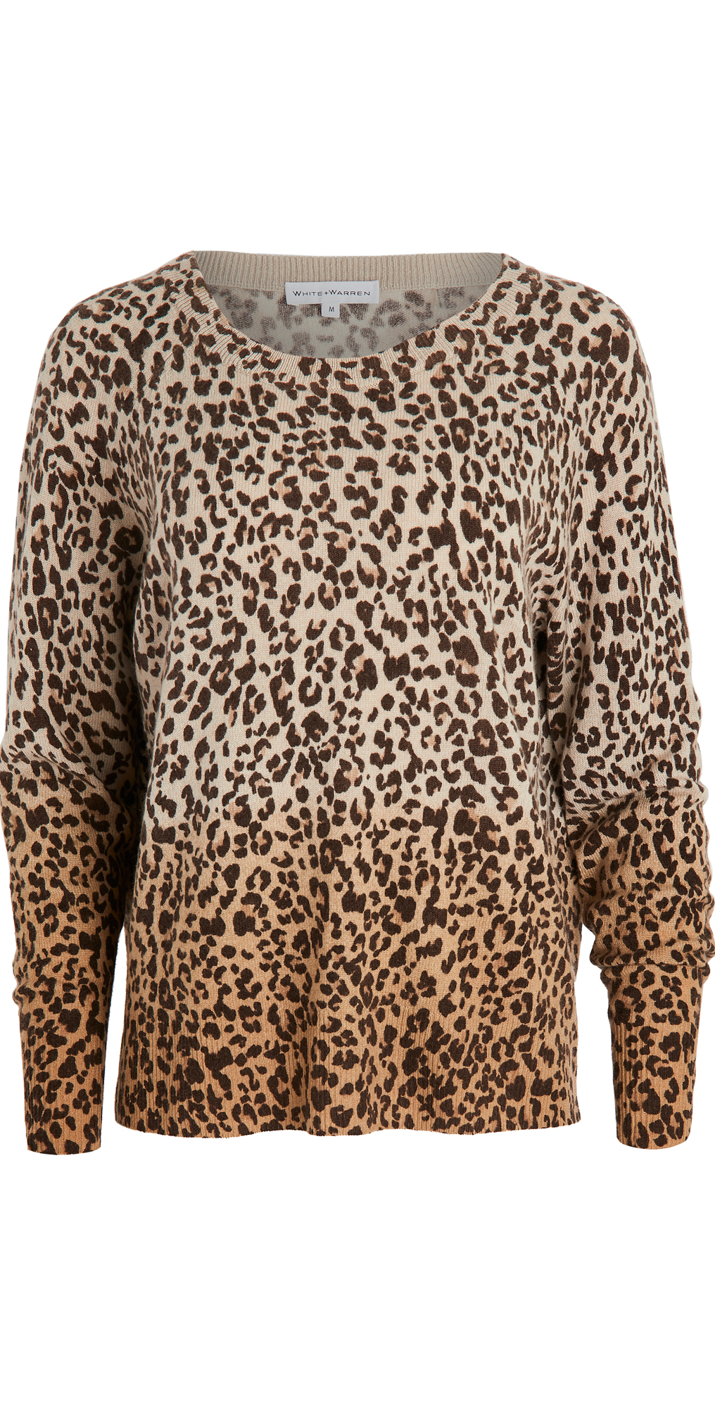 White + Warren Ombre Leopard Cashmere Sweater