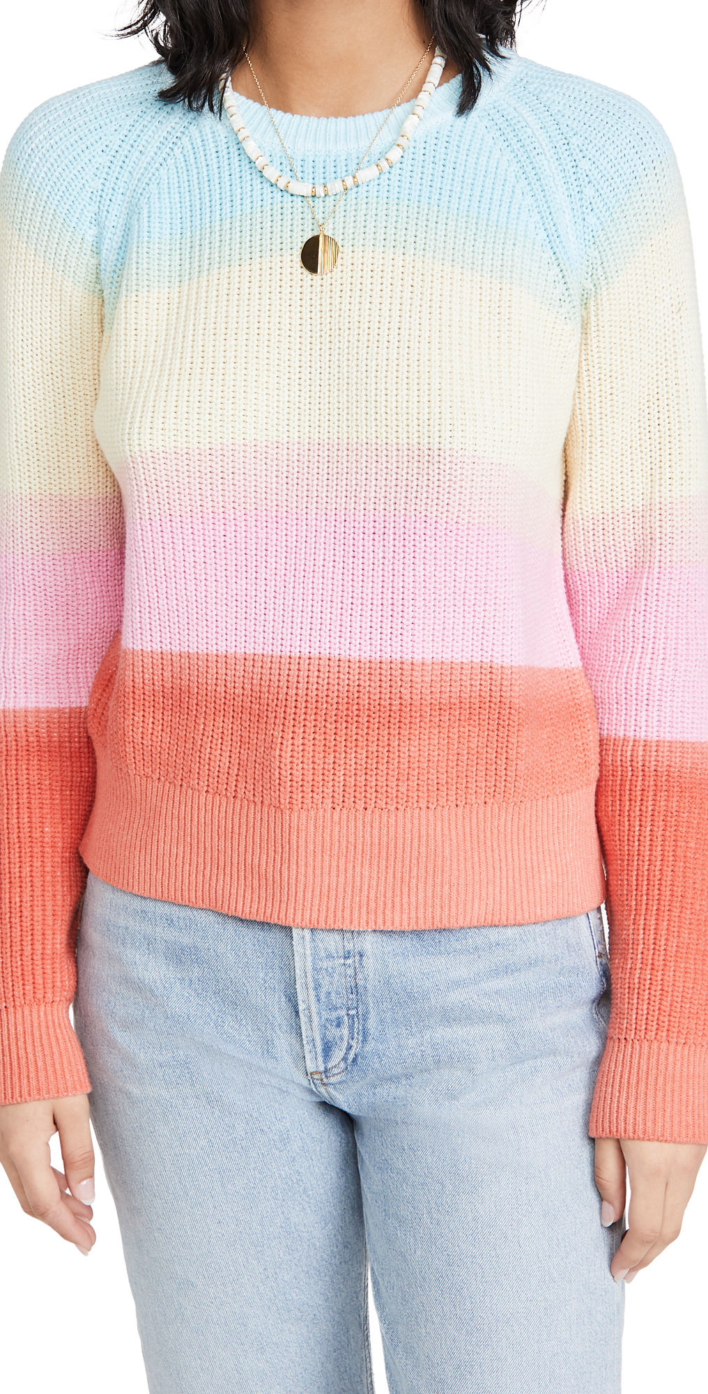 White + Warren Recycled Cotton Rainbow Sweater