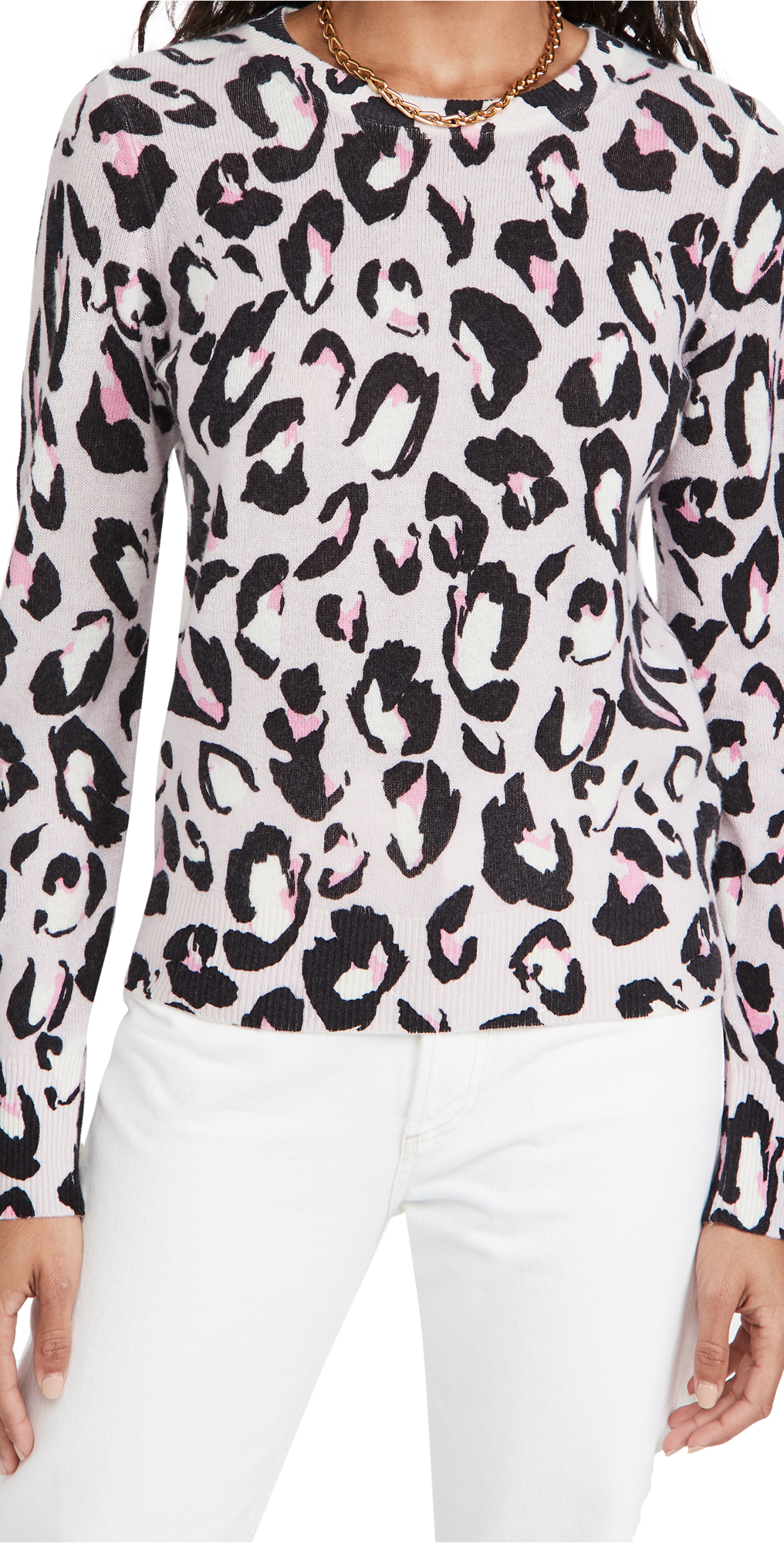 White + Warren Spotted Leopard Cashmere Sweater