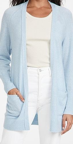 White + Warren - Cashmere Patch Pocket Open Cardigan