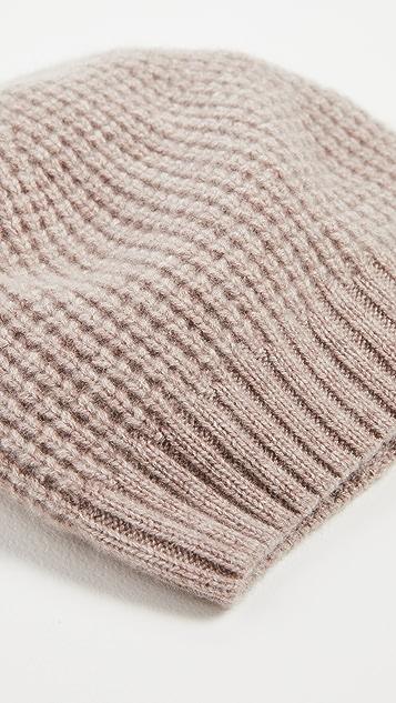 White + Warren 开司米羊绒蜂窝纹针织帽