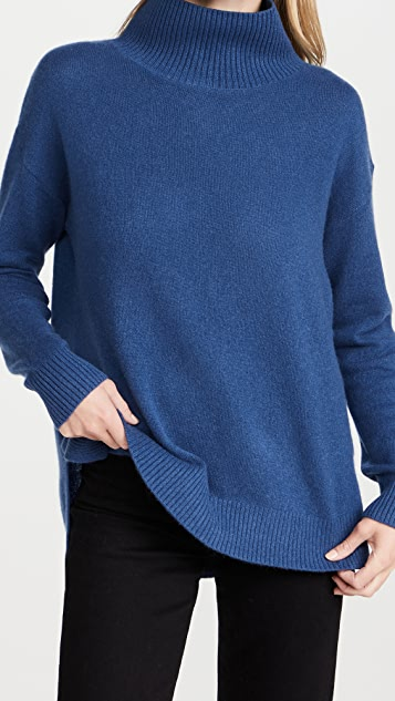 White + Warren Ribbed Stand Neck Cashmere Sweater