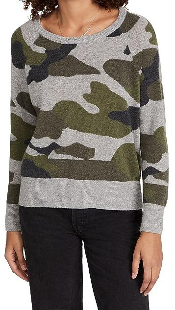 White + Warren Camo Intarsia Cashmere Sweater