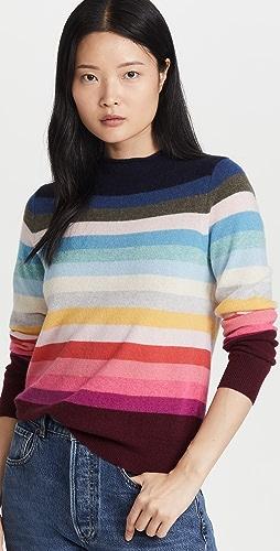 White + Warren - Cashmere Striped Mock Neck Sweater
