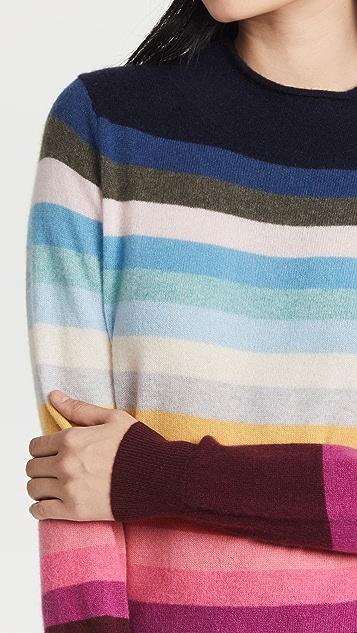 White + Warren Cashmere Striped Mock Neck Sweater