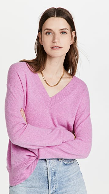 White + Warren Cashmere Long Sleeve V Neck Sweater