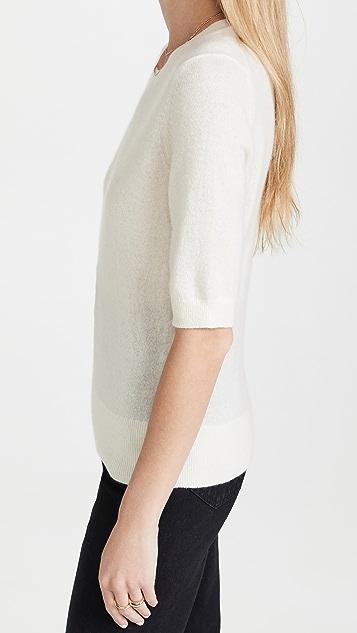 White + Warren Elbow Sleeve Classic Cashmere Sweater